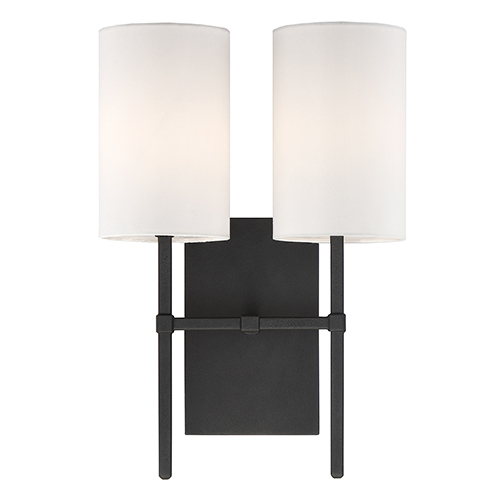 Crystorama Lighting Group Veronica Black Forged Two-Light Wall Sconce