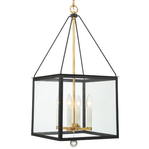 Weston Matte Black and Antique Gold 14-Inch Four-Light Pendant