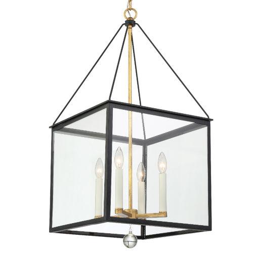 Weston Matte Black and Antique Gold Four-Light Pendant