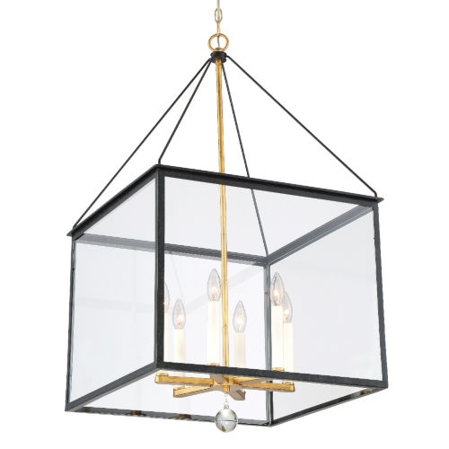 Weston Black and Antique Gold 21-Inch Six-Light Pendant