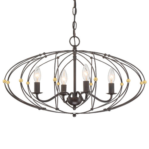 Zucca English Bronze and Antique Gold 25-Inch Four-Light Chandelier