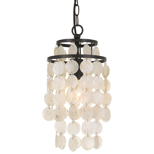 elight DESIGN Capiz Shell 36-Inch Bronze One-Light Mini Chandelier