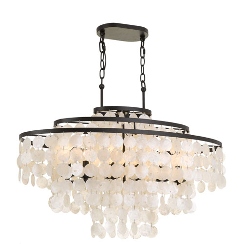 los angeles f85c3 531df elight DESIGN Capiz Shell 36-Inch Six-Light Bronze Linear Chandelier