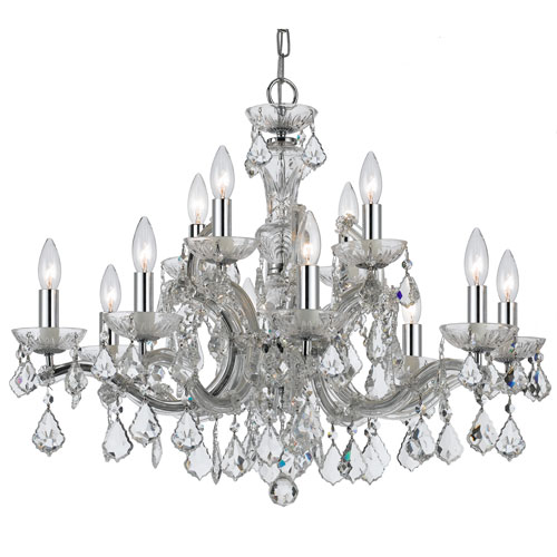 Crystal 30-Inch 12-Light Chrome Chandelier