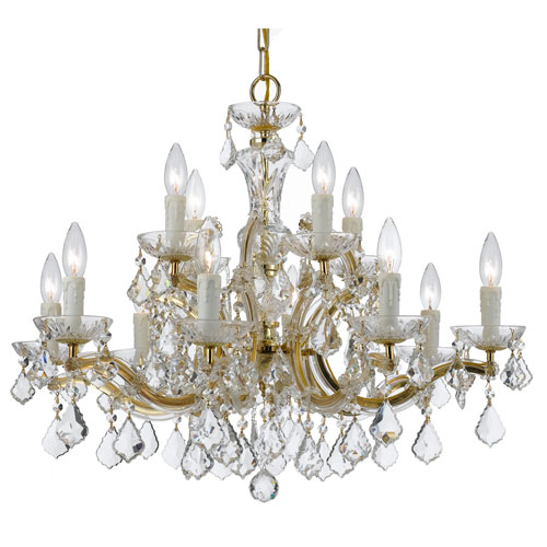 Crystal 30-Inch 12-Light Gold Chandelier