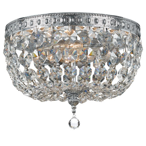 elight DESIGN Crystal 10-Inch Two-Light  Chrome Ceiling Mount