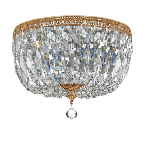 Crystal 12-Inch Three-Light Brass Ceiling Mount