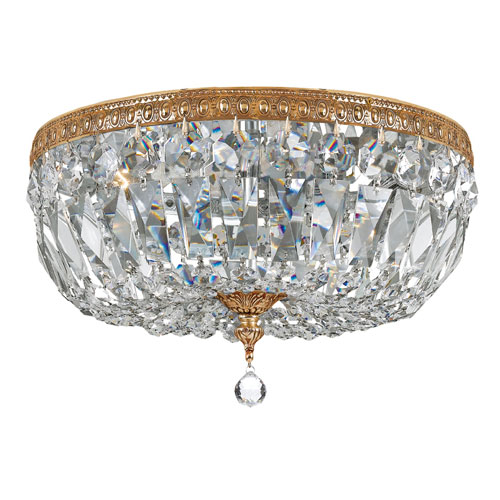 Crystal 14-Inch Three-Light Brass Ceiling Mount