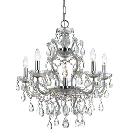 Crystal 23-Inch Six-Light Chrome Chandelier