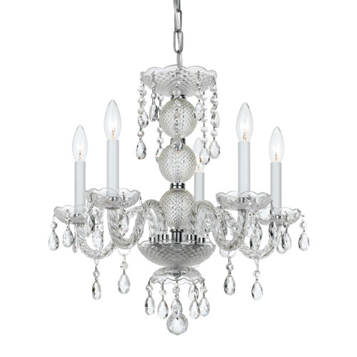 Crystal 17-Inch Five-Light Chrome Mini Chandelier