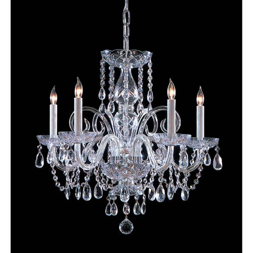 Traditional Crystal Swarovski Strass Crystal Polished Chrome Five-Light Chandelier
