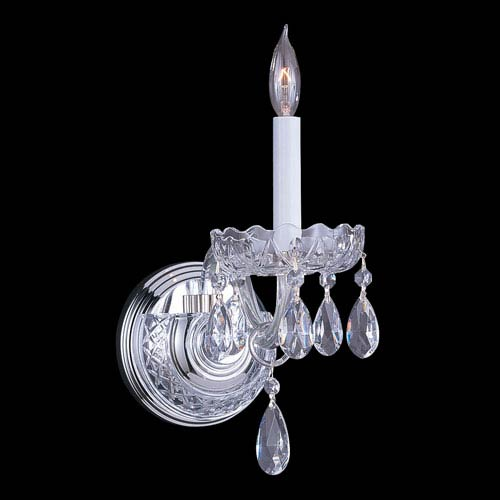 Crystorama Lighting Group Traditional Crystal Swarovski Spectra Crystal Polished Chrome One-Light Sconce