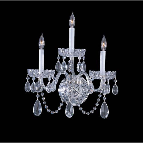 Traditional Crystal Polished Chrome Three-Light Crystal Sconce