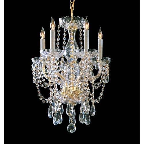 Traditional Crystal Swarovski Spectra Crystal Polished Brass Five-Light Chandelier