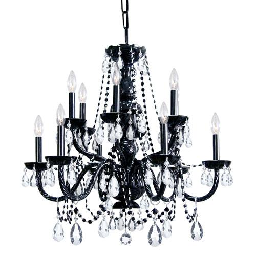 Traditional Crystal Black Twelve-Light Crystal Chandelier