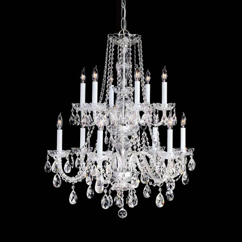 Traditional Crystal Polished Chrome Twelve-Light Crystal Chandelier
