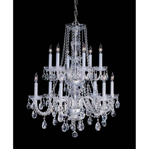 Traditional Crystal Polished Brass Twelve-Light Crystal Chandelier
