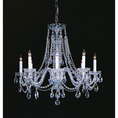 Traditional Crystal Swarovski Strass Crystal Polished Chrome Eight-Light Chandelier