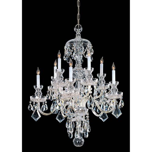Crystorama Lighting Group Traditional Crystal Polished Brass Ten-Light Crystal Chandelier