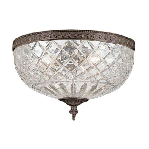 Cortland English Bronze Three-Light Flush Mount