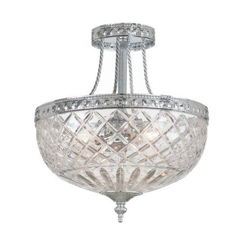 Crystorama Lighting Group Bohemain Crystal Polished Chrome Three-Light Semi-Flush