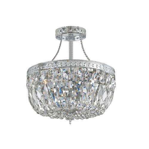 Crystorama Lighting Group Traditional Polished Chrome Three-Light Swarovski Strass Semi Flush Crystal Basket