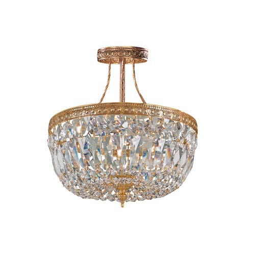 Crystorama Lighting Group Richmond Olde Brass Three-Light Semi-Flush Mount with Swarovski Strass Crystals