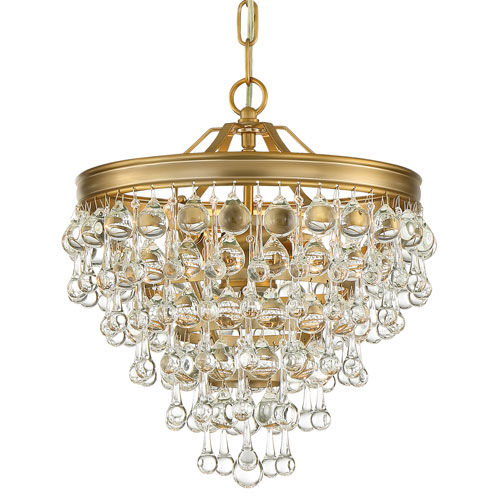 Calypso Three-Light Vibrant Gold Mini Chandelier