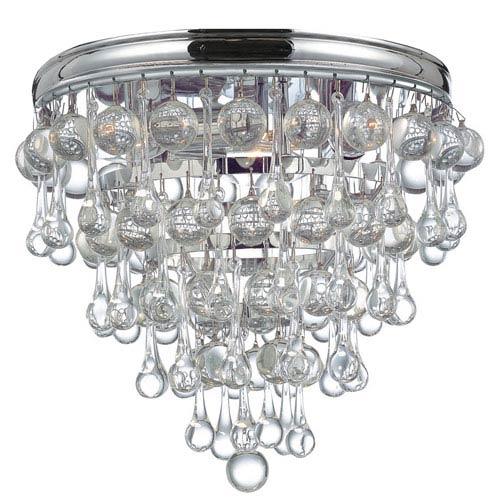 Calypso Polished Chrome Three-Light Flush Mount with Smooth Glass Balls