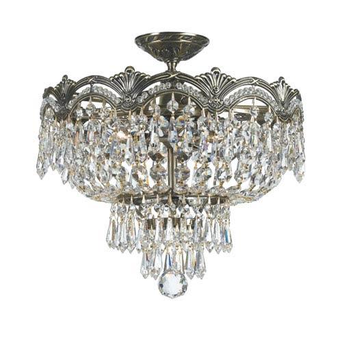 Majestic Historic Brass Three Light Flush Mount with Clear Italian Crystal