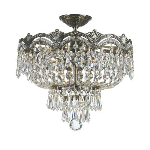Majestic Historic Brass Three-Light Crystal Semi-Flush