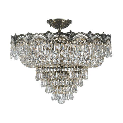 Majestic Historic Brass Five-Light Crystal Semi-Flush