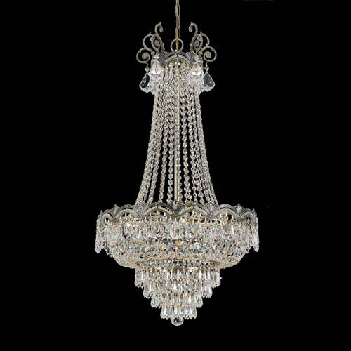 Majestic Historic Brass Eight-Light Crystal Chandelier