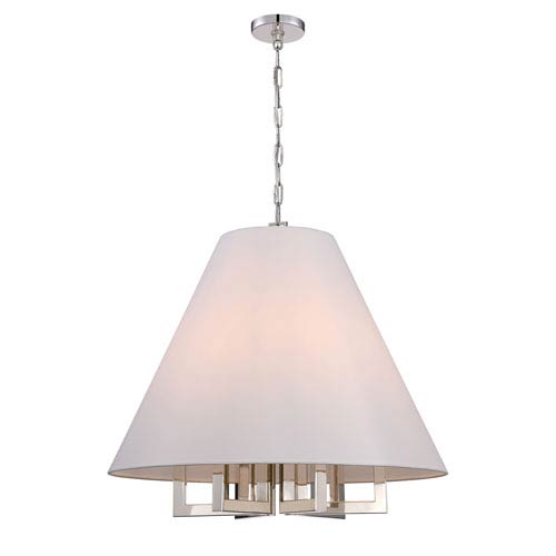 Westwood Polished Nickel 28-Inch Six-Light Pendant by Libby Langdon