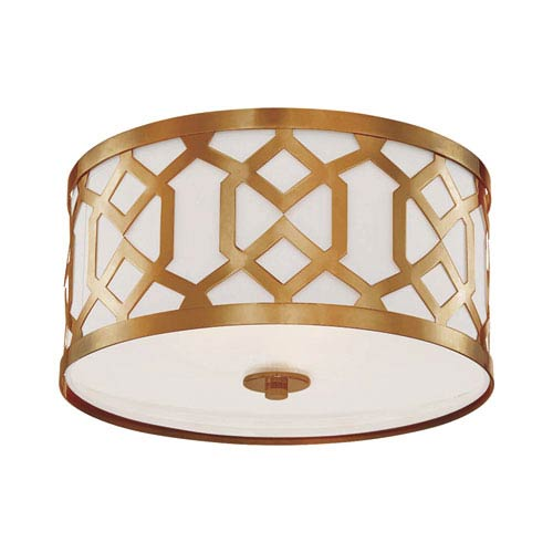 Jennings Aged Brass Three-Light Ceiling Mount by Libby Langdon