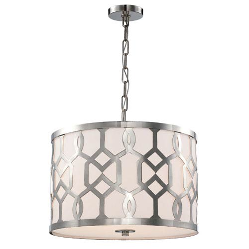 Crystorama Lighting Group Jennings Polished Nickel 18-Inch Wide Three-Light Pendant by Libby Langdon