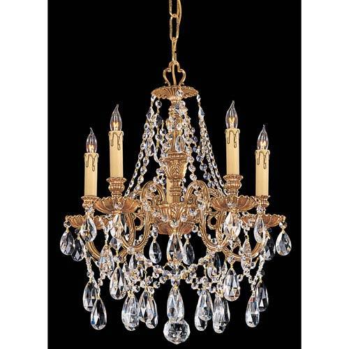 Novella Ornate Cast Brass Five-Light Chandelier with Swarovski Strass Crystal