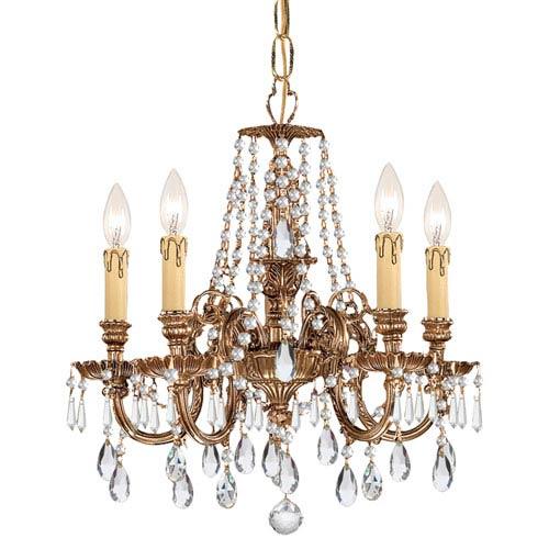 Crystorama Lighting Group Novella Olde Brass Five Light Chandelier with Clear Swarovski Strass Crystal