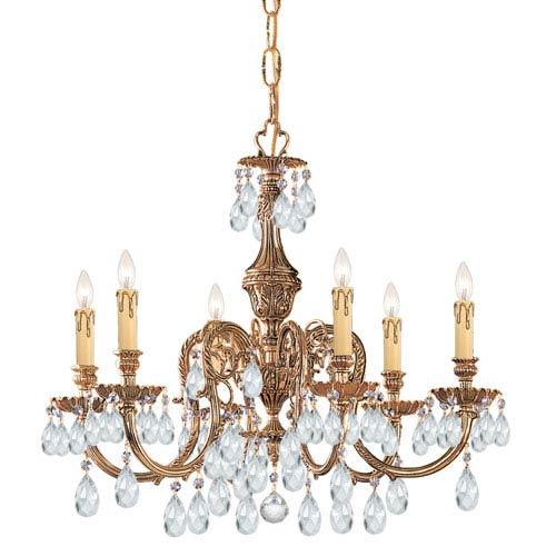 Novella Olde Brass Six-Light Crystal Chandelier