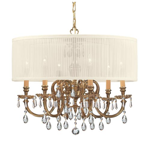 Crystorama Lighting Group Brentwood Olde Brass Six-Light Crystal Pendant