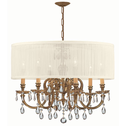 Crystorama Lighting Group Brentwood Ornate Cast Brass Chandelier with Swarovski Strass Crystal and Antique White Shade