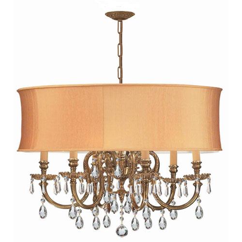 Crystorama Lighting Group Novella Olde Brass Six-Light Ornate Cast Brass Pendant with Hand Cut Crystal