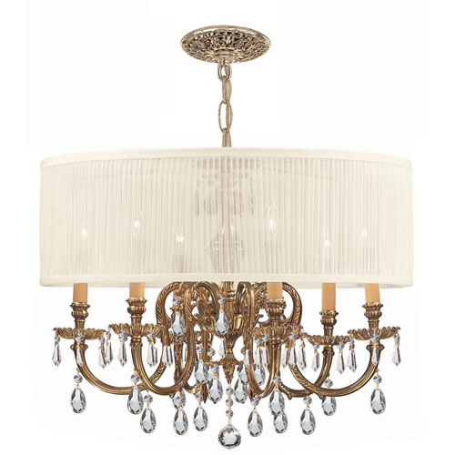 Crystorama Lighting Group Brentwood Ornate Cast Brass Chandelier with Swarovski Spectra Crystal and Antique White Shade