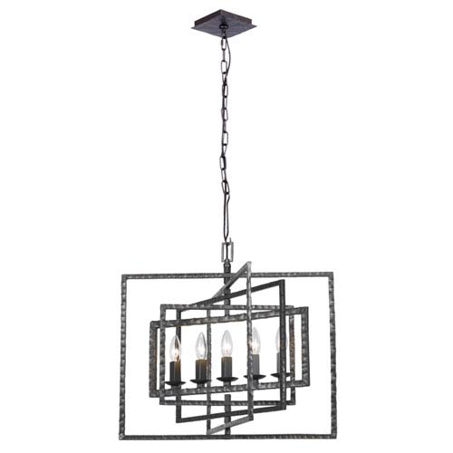 Capri Raw Steel Five-Light Chandelier