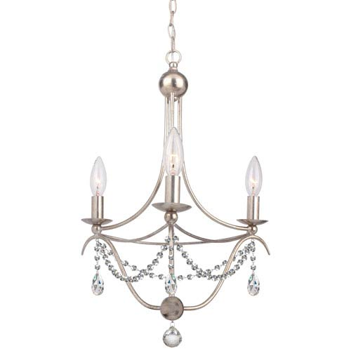 Metro Antique Silver Three Light Mini Chandelier with Clear Spectra Crystal
