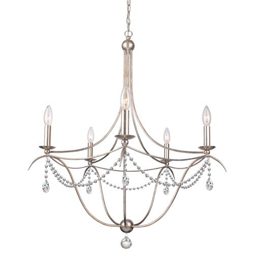 Crystorama Lighting Group Metro Antique Silver Five Light Chandelier with Clear Spectra Crystal