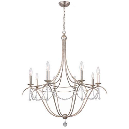 Crystorama Lighting Group Metro II Eight-Light Antique Sliver Chandelier