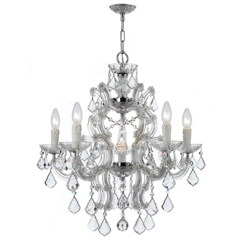 Crystorama Lighting Group Maria Theresa Polished Chrome Six-Light Chandeliers