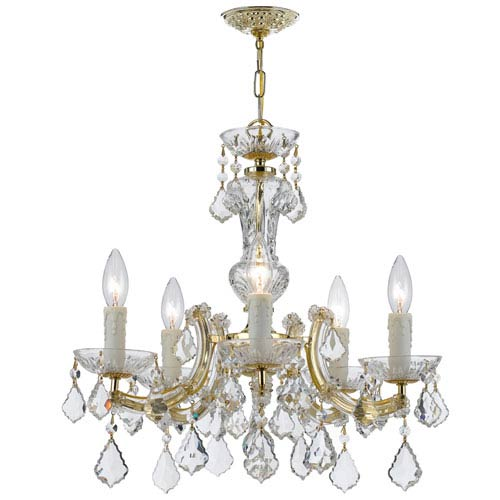 Crystorama Lighting Group Maria Theresa Gold 19-Inch Five Light Hand Cut Crystal Mini-Chandelier