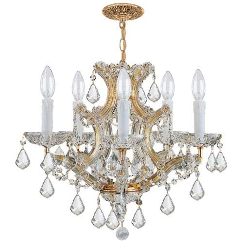 Crystorama Lighting Group Maria Theresa Traditional Gold Five-Light Chandelier with Hand Cut Crystal